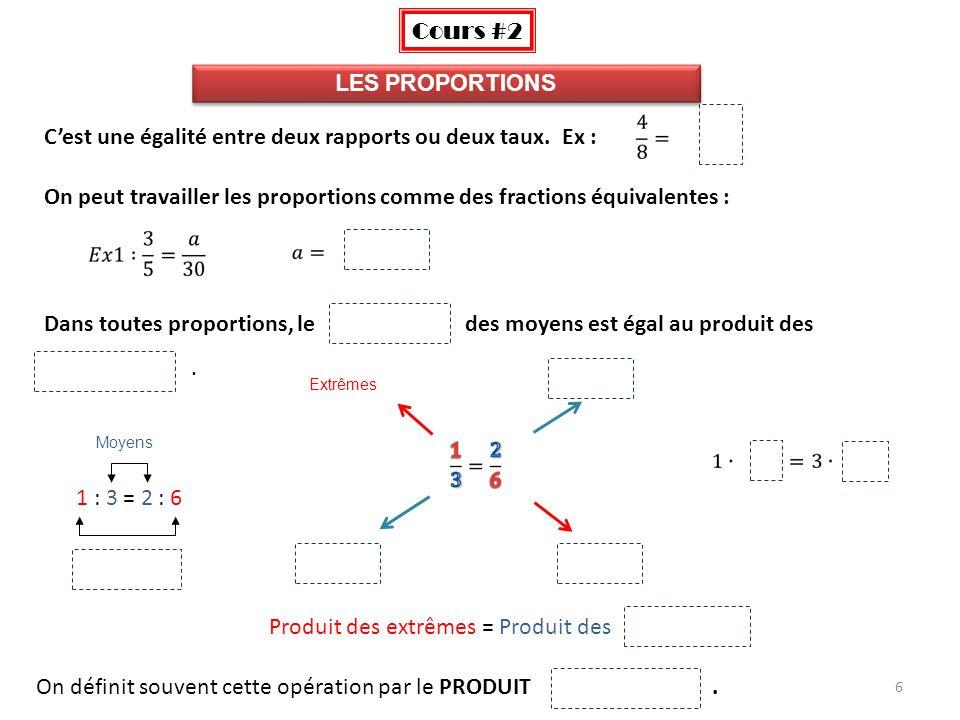 6 LES PROPORTIONS Cest une égalité entre deux rapports ou deux taux. Ex : On peut travailler les proportions comme des fractions équivalentes : Dans t