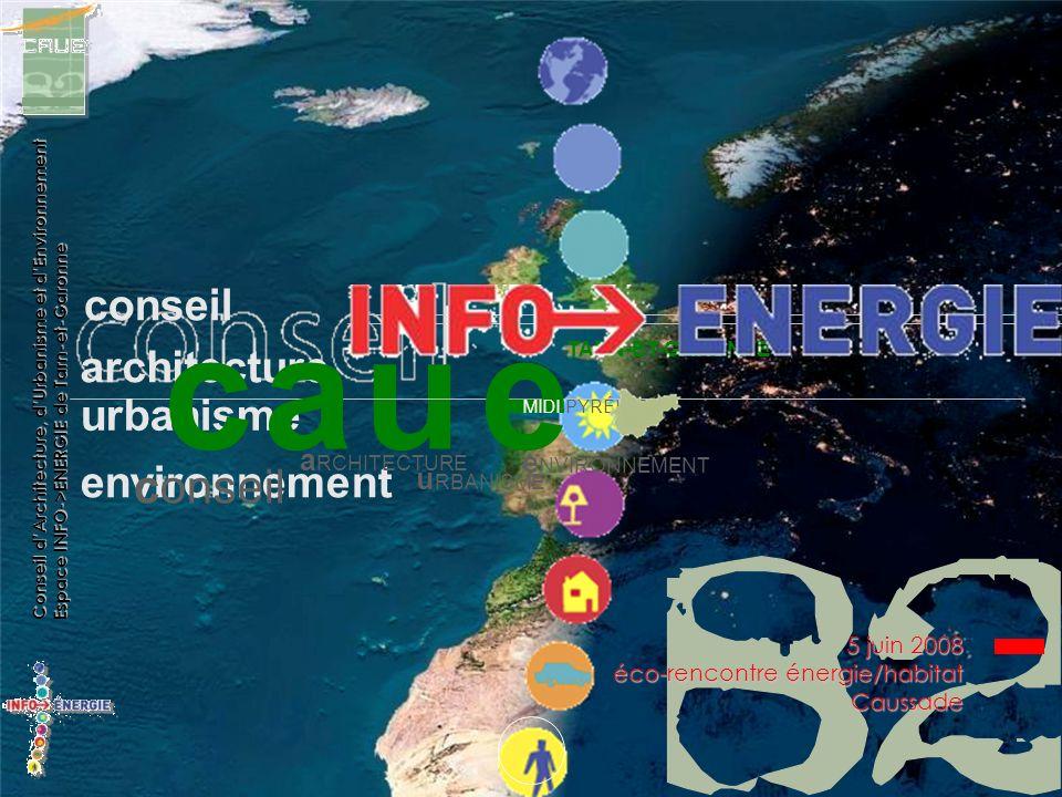 u conseil architecture urbanisme environnement conseil cae TARN-ET-GARONNE MIDI-PYRÉNÉES a RCHITECTURE u RBANISME e NVIRONNEMENT Conseil dArchitecture, dUrbanisme et dEnvironnement Espace INFO->ENERGIE de Tarn-et-Garonne 5 juin 2008 éco-rencontre énergie/habitat Caussade