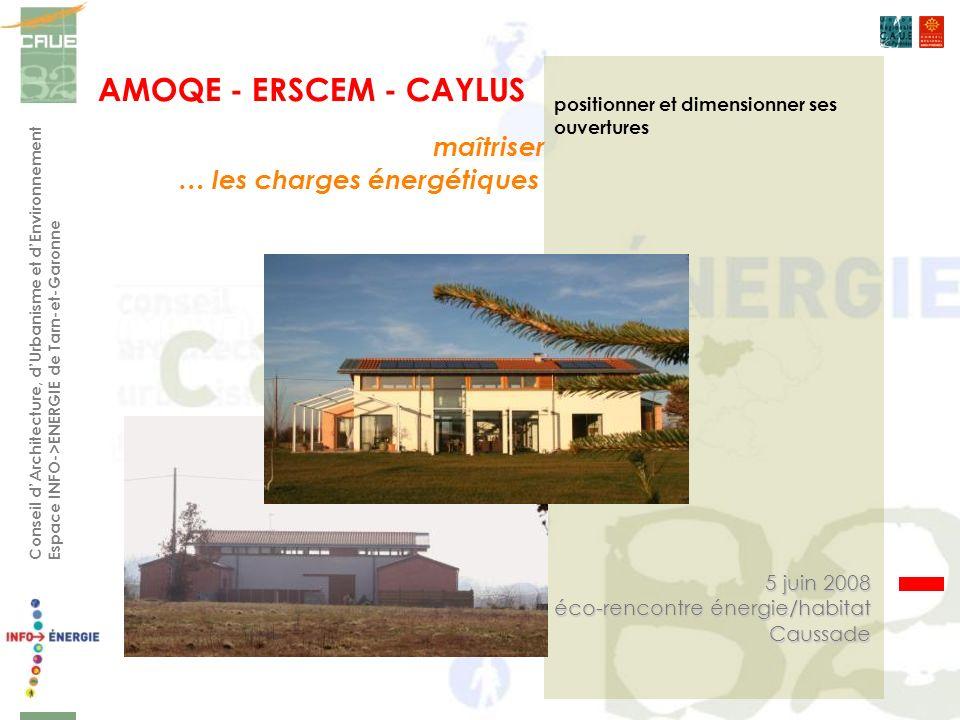 AMOQE - ERSCEM - CAYLUS Conseil dArchitecture, dUrbanisme et dEnvironnement Espace INFO->ENERGIE de Tarn-et-Garonne positionner et dimensionner ses ouvertures maîtriser … les charges énergétiques 5 juin 2008 éco-rencontre énergie/habitat Caussade