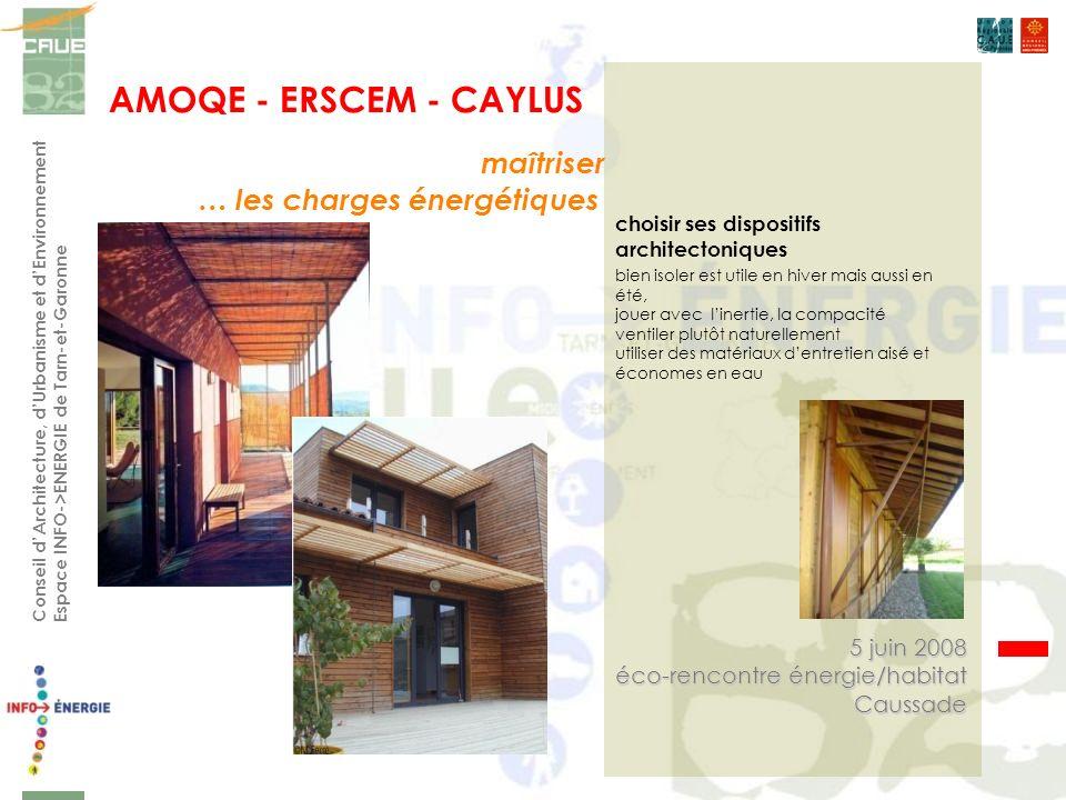 bien isoler est utile en hiver mais aussi en été, jouer avec linertie, la compacité ventiler plutôt naturellement utiliser des matériaux dentretien aisé et économes en eau AMOQE - ERSCEM - CAYLUS Conseil dArchitecture, dUrbanisme et dEnvironnement Espace INFO->ENERGIE de Tarn-et-Garonne choisir ses dispositifs architectoniques maîtriser … les charges énergétiques 5 juin 2008 éco-rencontre énergie/habitat Caussade