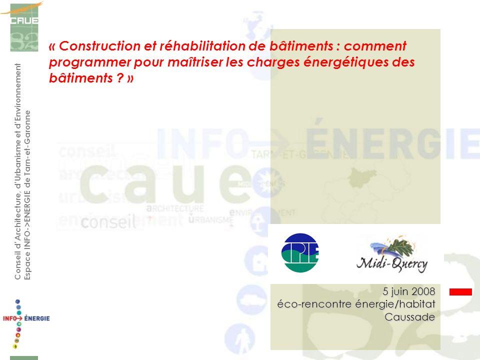 Conseil dArchitecture, dUrbanisme et dEnvironnement Espace INFO->ENERGIE de Tarn-et-Garonne « Construction et réhabilitation de bâtiments : comment pr