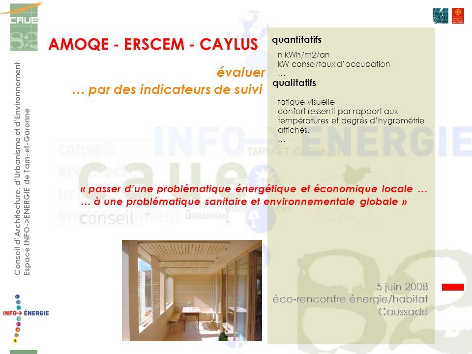AMOQE - ERSCEM - CAYLUS Conseil dArchitecture, dUrbanisme et dEnvironnement Espace INFO->ENERGIE de Tarn-et-Garonne quantitatifs qualitatifs 5 juin 20
