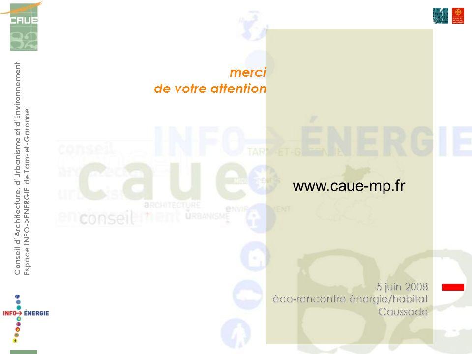 Conseil dArchitecture, dUrbanisme et dEnvironnement Espace INFO->ENERGIE de Tarn-et-Garonne 5 juin 2008 éco-rencontre énergie/habitat Caussade merci de votre attention www.caue-mp.fr