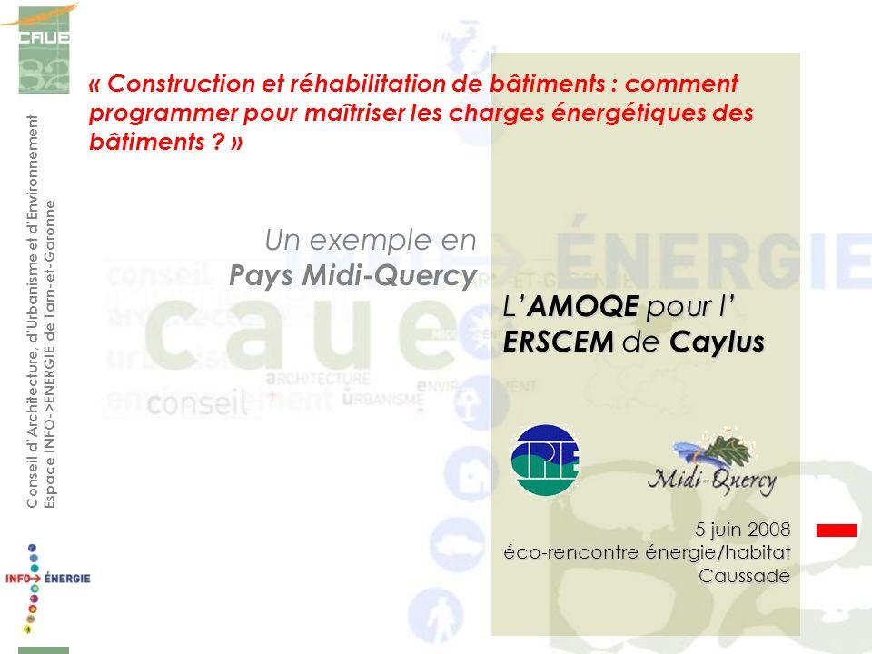 Conseil dArchitecture, dUrbanisme et dEnvironnement Espace INFO->ENERGIE de Tarn-et-Garonne « Construction et réhabilitation de bâtiments : comment programmer pour maîtriser les charges énergétiques des bâtiments .