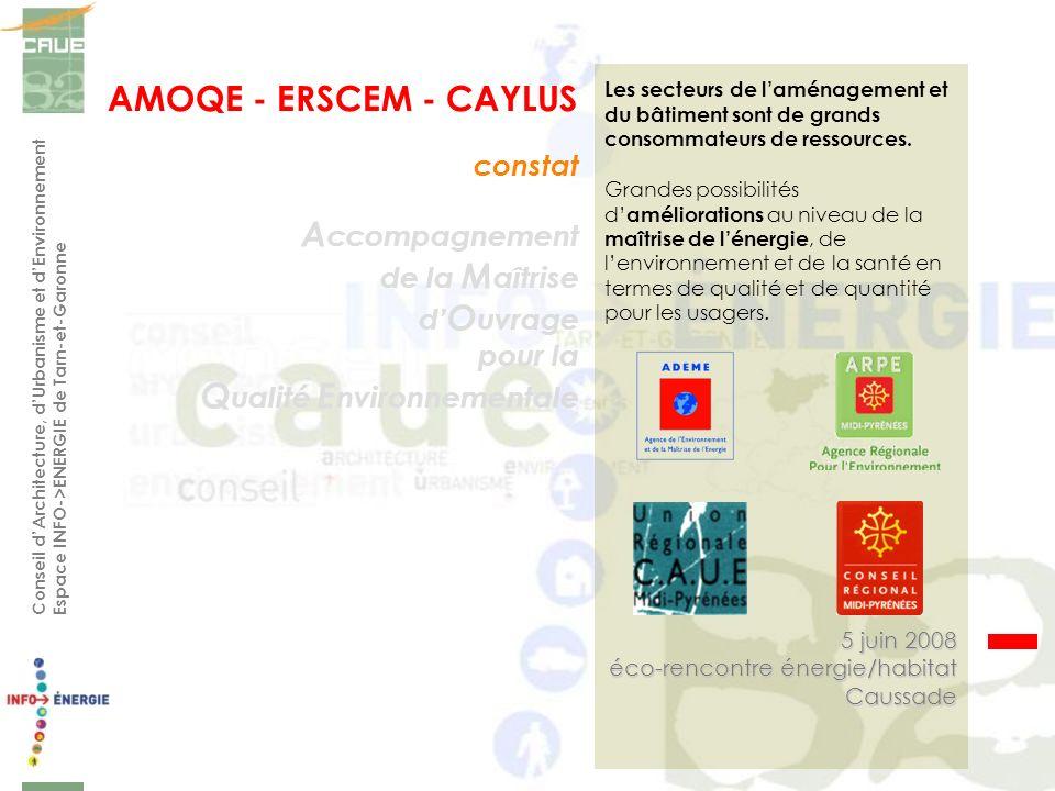 Conseil dArchitecture, dUrbanisme et dEnvironnement Espace INFO->ENERGIE de Tarn-et-Garonne A ccompagnement de la M aîtrise d O uvrage pour la Q ualit