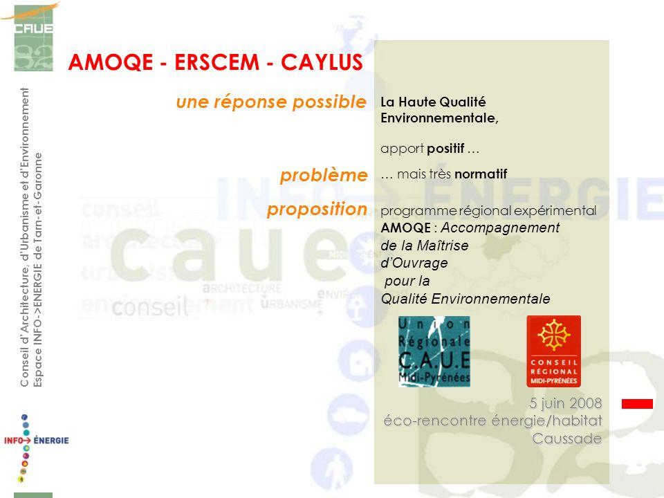 Conseil dArchitecture, dUrbanisme et dEnvironnement Espace INFO->ENERGIE de Tarn-et-Garonne une réponse possible 5 juin 2008 éco-rencontre énergie/hab