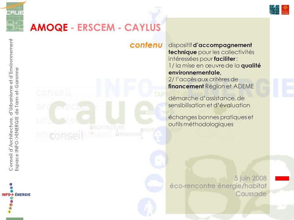 Conseil dArchitecture, dUrbanisme et dEnvironnement Espace INFO->ENERGIE de Tarn-et-Garonne contenu 5 juin 2008 éco-rencontre énergie/habitat Caussade