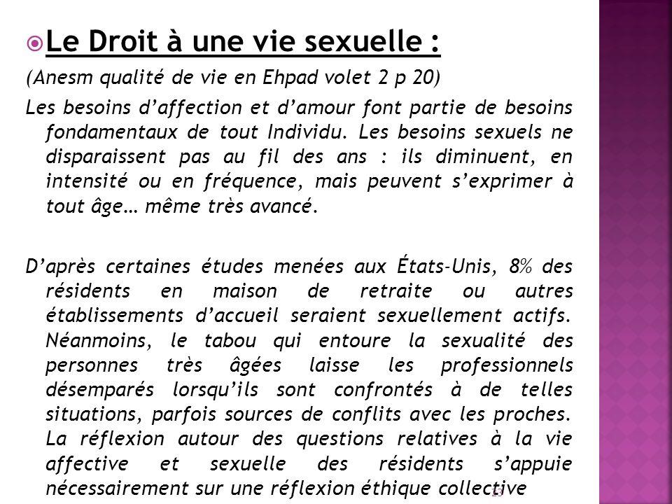 Le Droit à une vie sexuelle : (Anesm qualité de vie en Ehpad volet 2 p 20) Les besoins daffection et damour font partie de besoins fondamentaux de tou