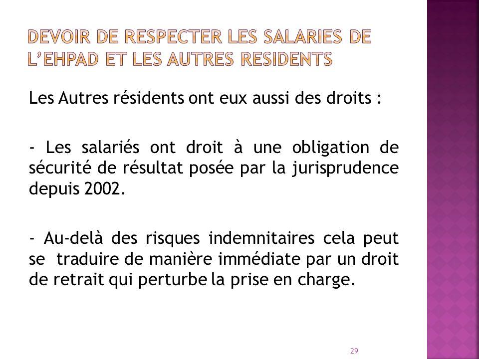 Les Autres résidents ont eux aussi des droits : - Les salariés ont droit à une obligation de sécurité de résultat posée par la jurisprudence depuis 20