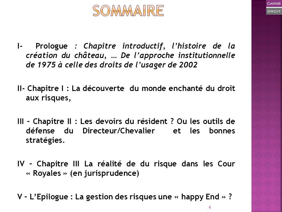 I- Prologue : Chapitre introductif, lhistoire de la création du château, … De lapproche institutionnelle de 1975 à celle des droits de lusager de 2002
