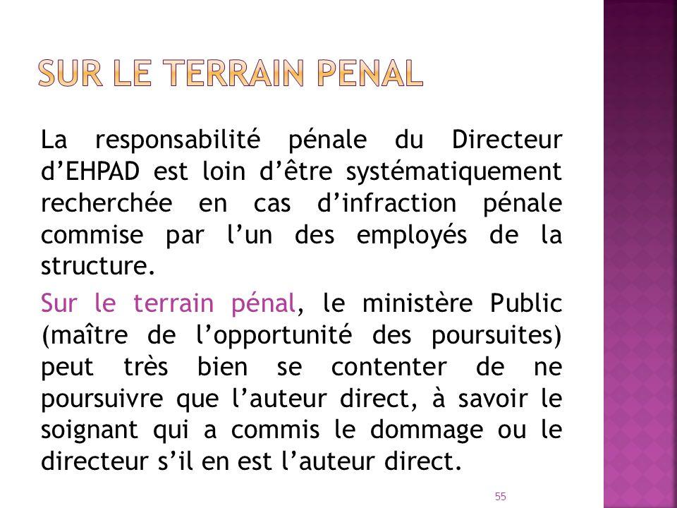 La responsabilité pénale du Directeur dEHPAD est loin dêtre systématiquement recherchée en cas dinfraction pénale commise par lun des employés de la s