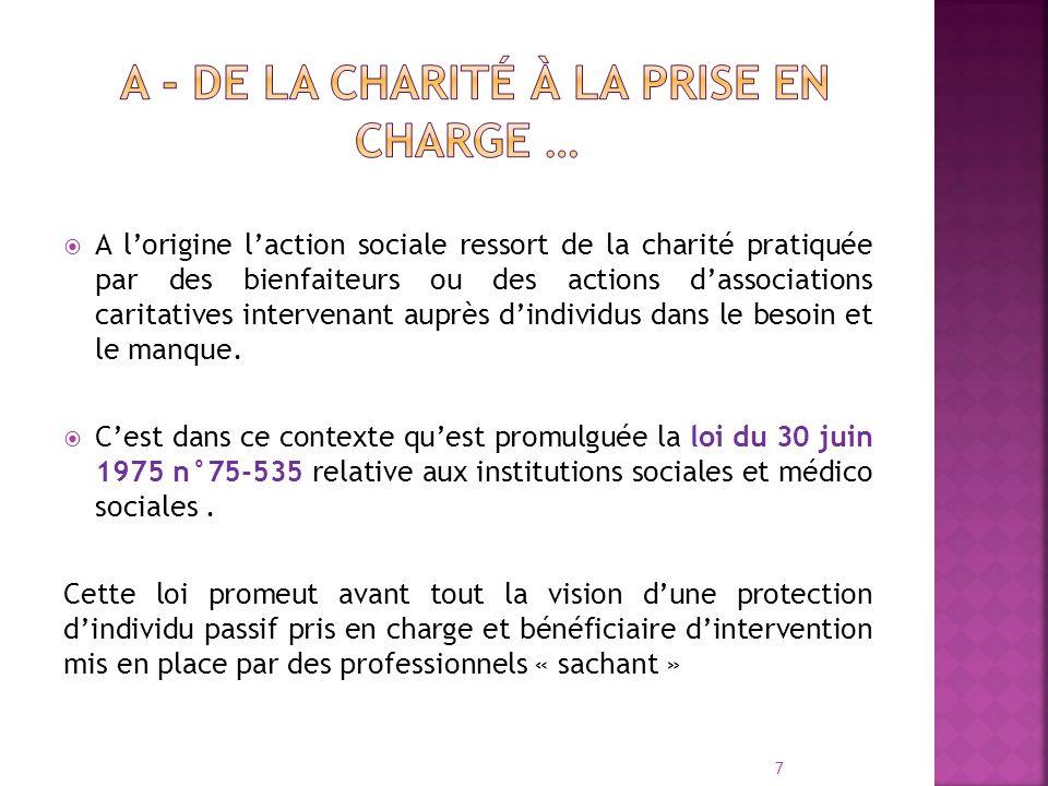 A lorigine laction sociale ressort de la charité pratiquée par des bienfaiteurs ou des actions dassociations caritatives intervenant auprès dindividus