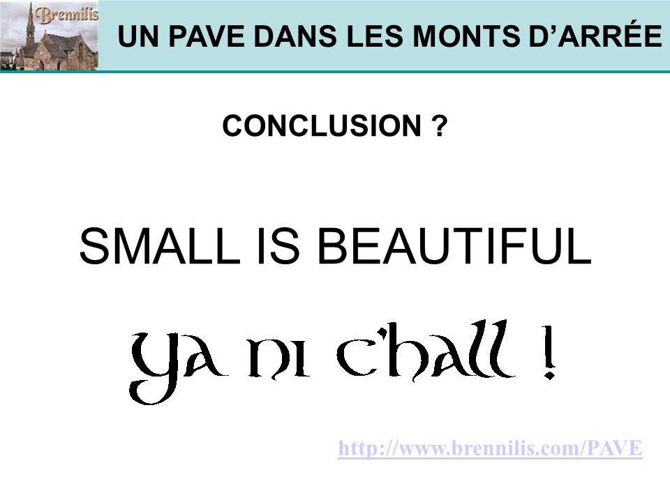 UN PAVE DANS LES MONTS DARRÉE CONCLUSION SMALL IS BEAUTIFUL http://www.brennilis.com/PAVE