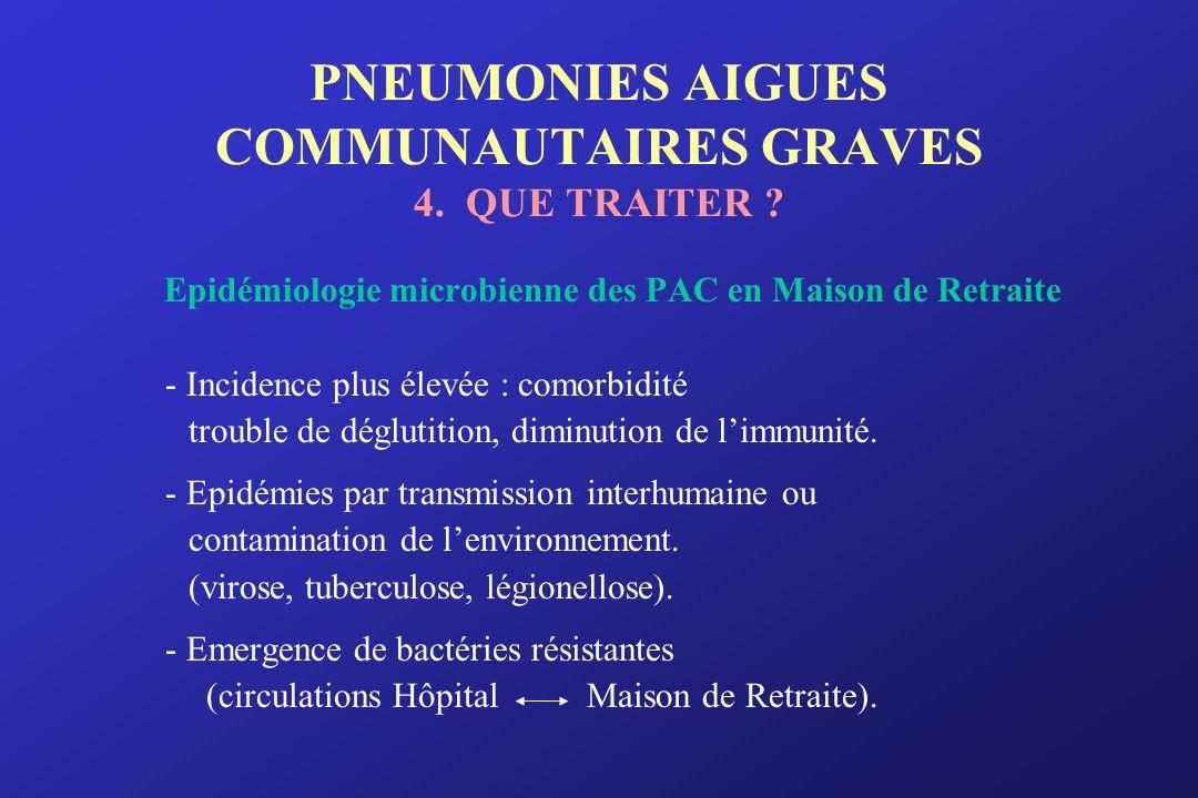 PNEUMONIES AIGUES COMMUNAUTAIRES GRAVES 4. QUE TRAITER ? Epidémiologie microbienne des PAC en Maison de Retraite - Incidence plus élevée : comorbidité