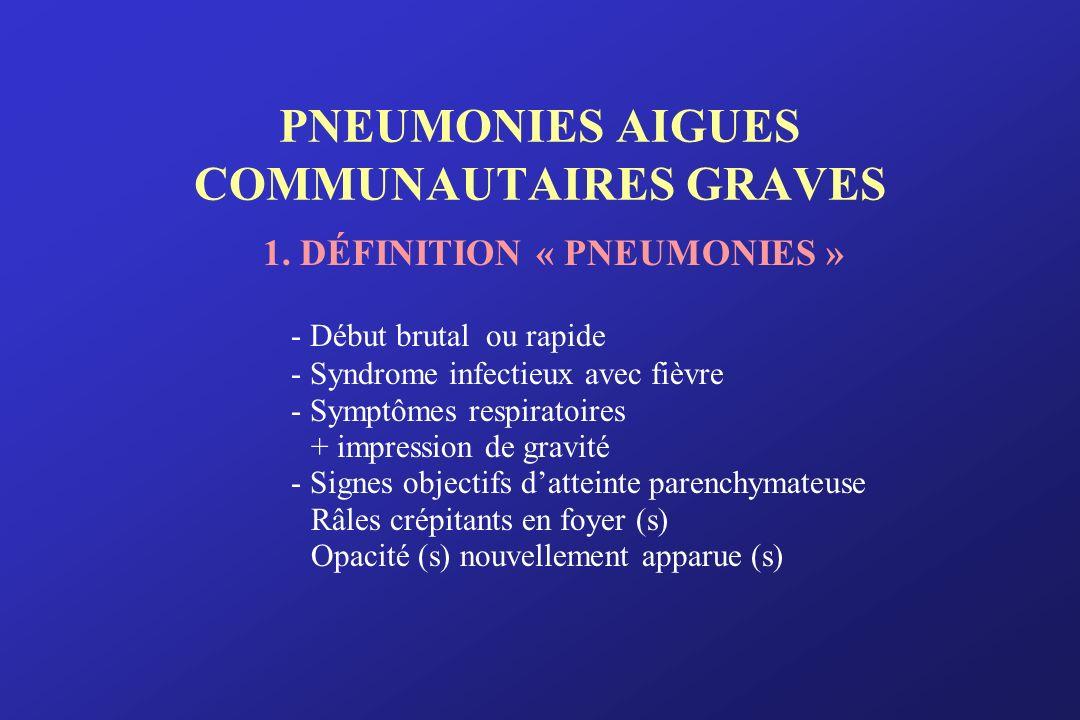 PNEUMONIES AIGUES COMMUNAUTAIRES GRAVES 1. DÉFINITION « PNEUMONIES » - Début brutal ou rapide - Syndrome infectieux avec fièvre - Symptômes respiratoi
