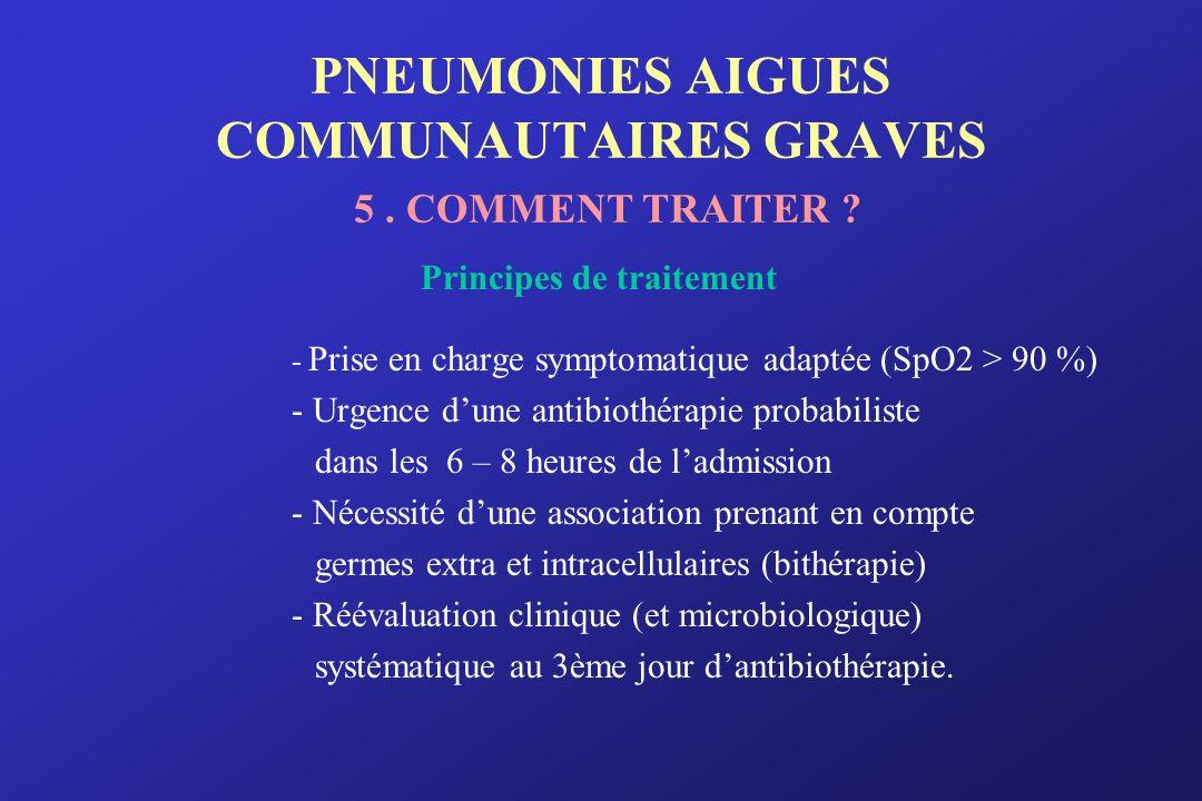 PNEUMONIES AIGUES COMMUNAUTAIRES GRAVES 5. COMMENT TRAITER ? Principes de traitement - Prise en charge symptomatique adaptée (SpO2 > 90 %) - Urgence d
