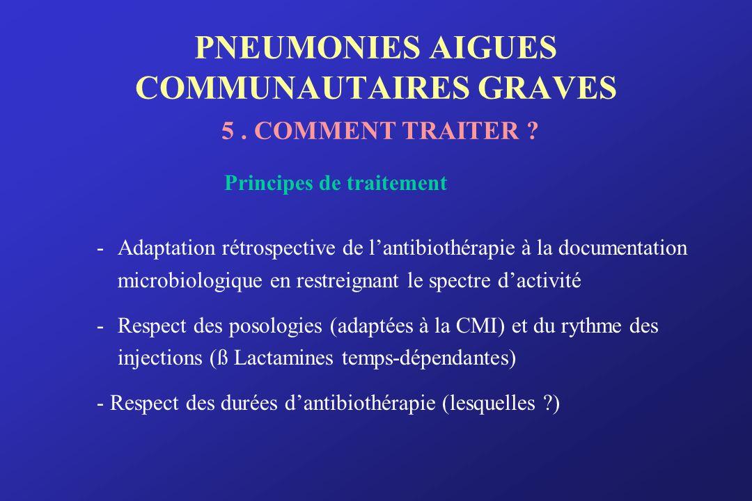 PNEUMONIES AIGUES COMMUNAUTAIRES GRAVES 5. COMMENT TRAITER ? Principes de traitement -Adaptation rétrospective de lantibiothérapie à la documentation