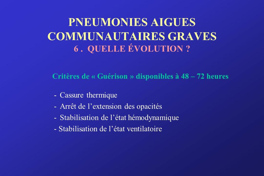 PNEUMONIES AIGUES COMMUNAUTAIRES GRAVES 6. QUELLE ÉVOLUTION ? Critères de « Guérison » disponibles à 48 – 72 heures -Cassure thermique -Arrêt de lexte