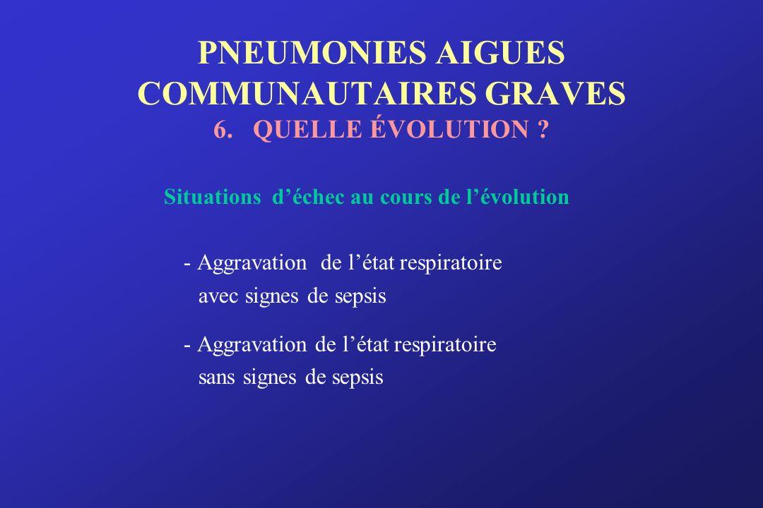 PNEUMONIES AIGUES COMMUNAUTAIRES GRAVES 6. QUELLE ÉVOLUTION ? Situations déchec au cours de lévolution - Aggravation de létat respiratoire avec signes