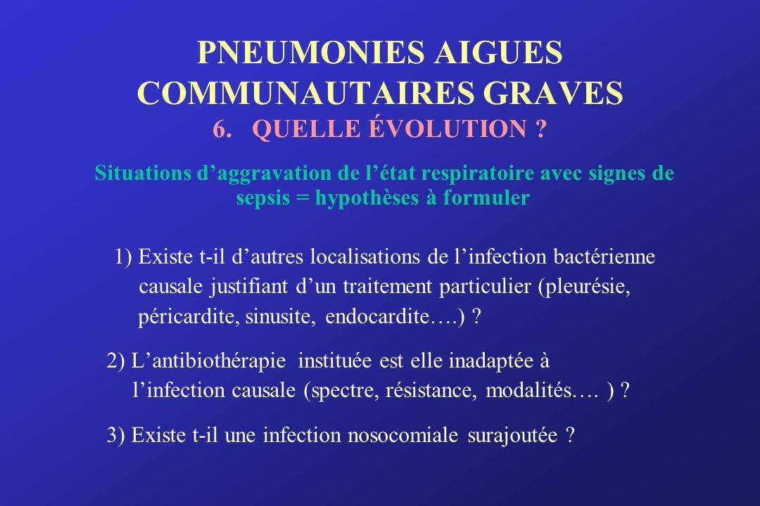 PNEUMONIES AIGUES COMMUNAUTAIRES GRAVES 6. QUELLE ÉVOLUTION ? Situations daggravation de létat respiratoire avec signes de sepsis = hypothèses à formu