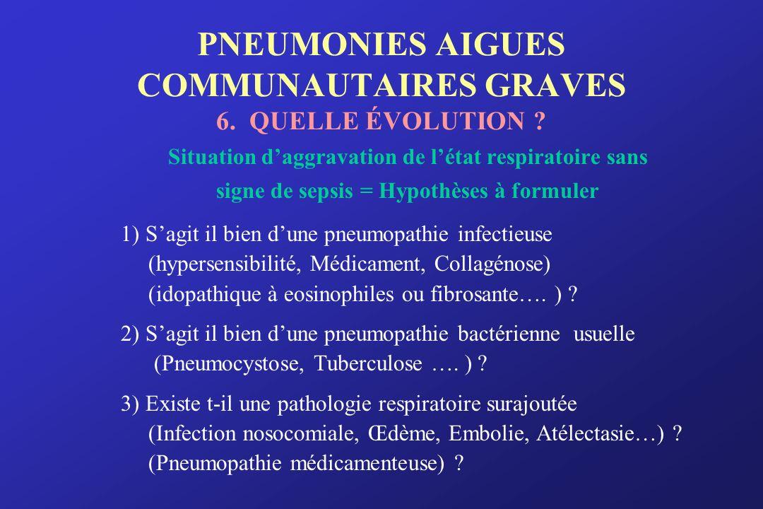 PNEUMONIES AIGUES COMMUNAUTAIRES GRAVES 6. QUELLE ÉVOLUTION ? Situation daggravation de létat respiratoire sans signe de sepsis = Hypothèses à formule