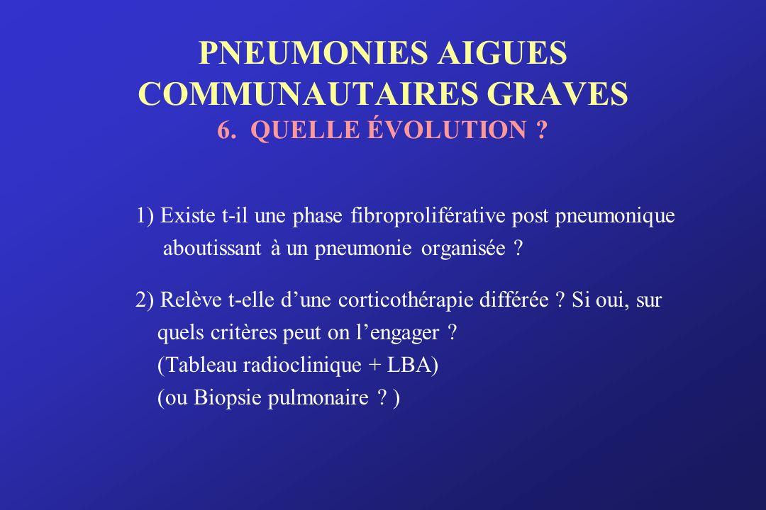PNEUMONIES AIGUES COMMUNAUTAIRES GRAVES 6. QUELLE ÉVOLUTION ? 1) Existe t-il une phase fibroproliférative post pneumonique aboutissant à un pneumonie