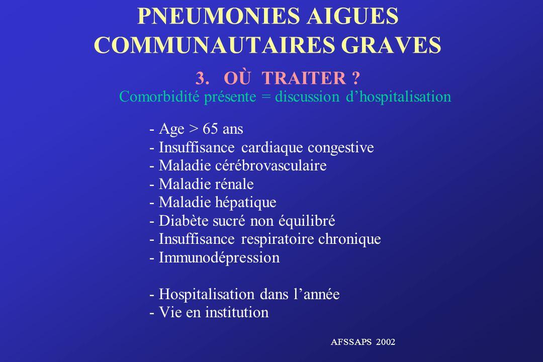 PNEUMONIES AIGUES COMMUNAUTAIRES GRAVES 3. OÙ TRAITER ? Comorbidité présente = discussion dhospitalisation - Age > 65 ans - Insuffisance cardiaque con