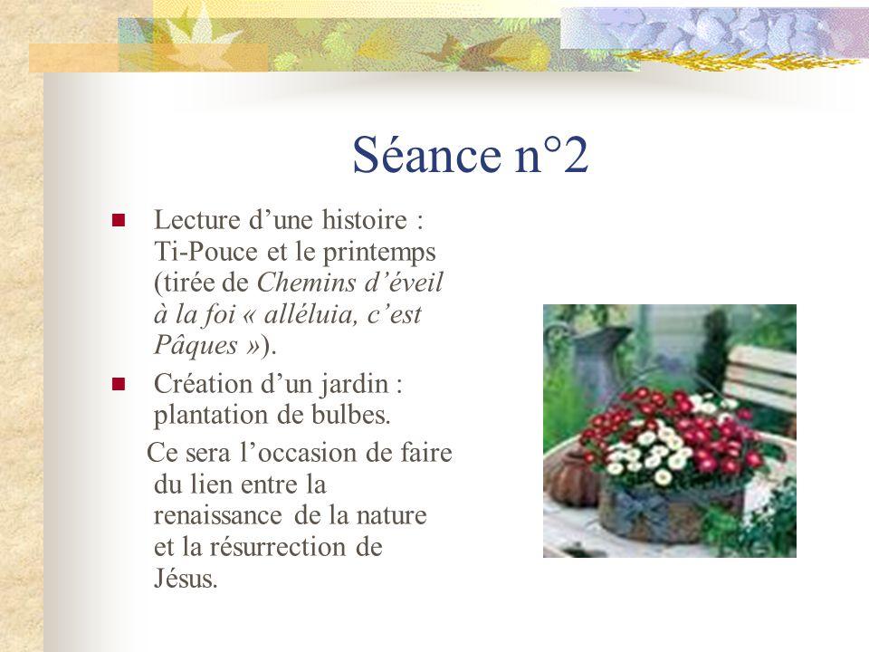 Séance n°2 Lecture dune histoire : Ti-Pouce et le printemps (tirée de Chemins déveil à la foi « alléluia, cest Pâques »). Création dun jardin : planta