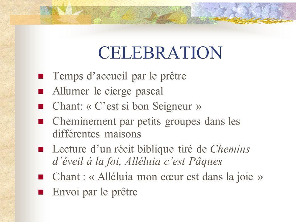 CELEBRATION Temps daccueil par le prêtre Allumer le cierge pascal Chant: « Cest si bon Seigneur » Cheminement par petits groupes dans les différentes