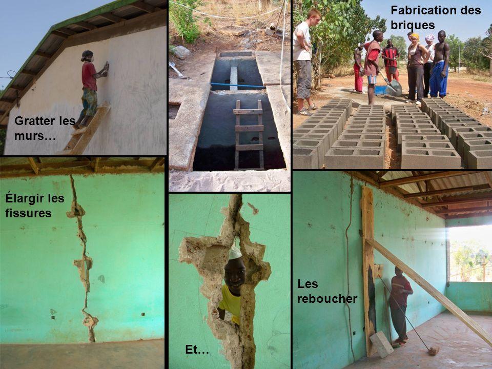Gratter les murs… Fabrication des briques Élargir les fissures Et… Les reboucher