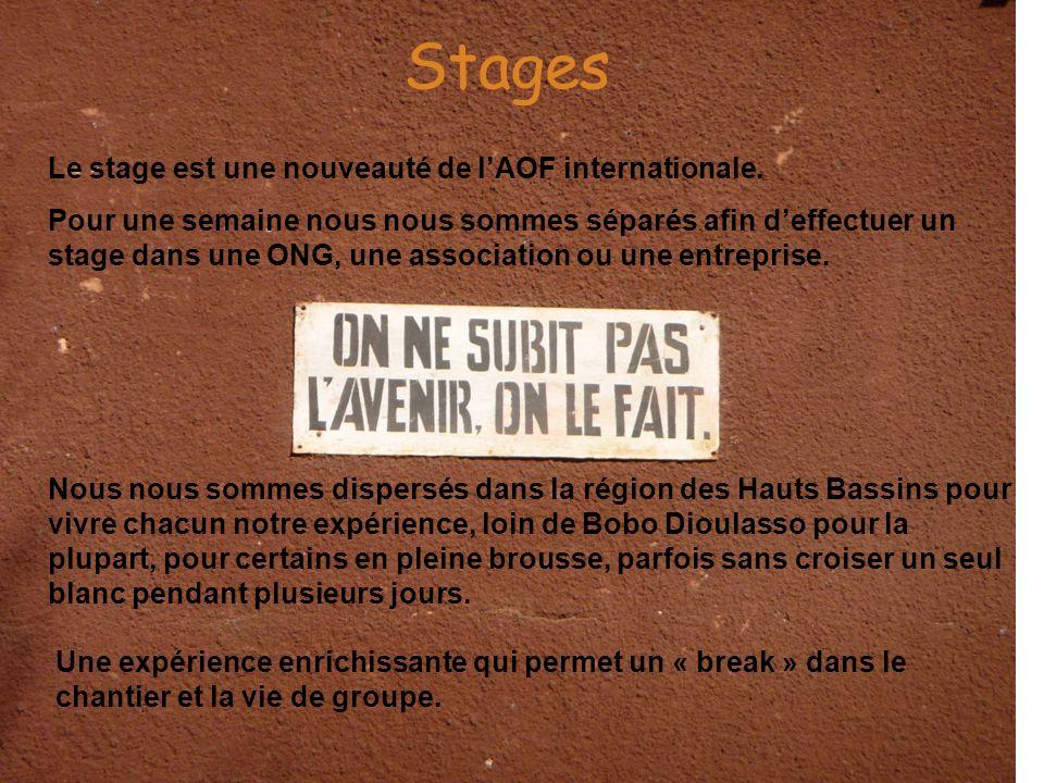 Stages Le stage est une nouveauté de lAOF internationale. Pour une semaine nous nous sommes séparés afin deffectuer un stage dans une ONG, une associa
