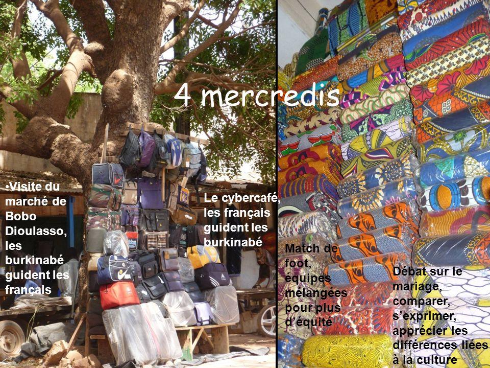4 mercredis Visite du marché de Bobo Dioulasso, les burkinabé guident les français Le cybercafé, les français guident les burkinabé Match de foot, équ
