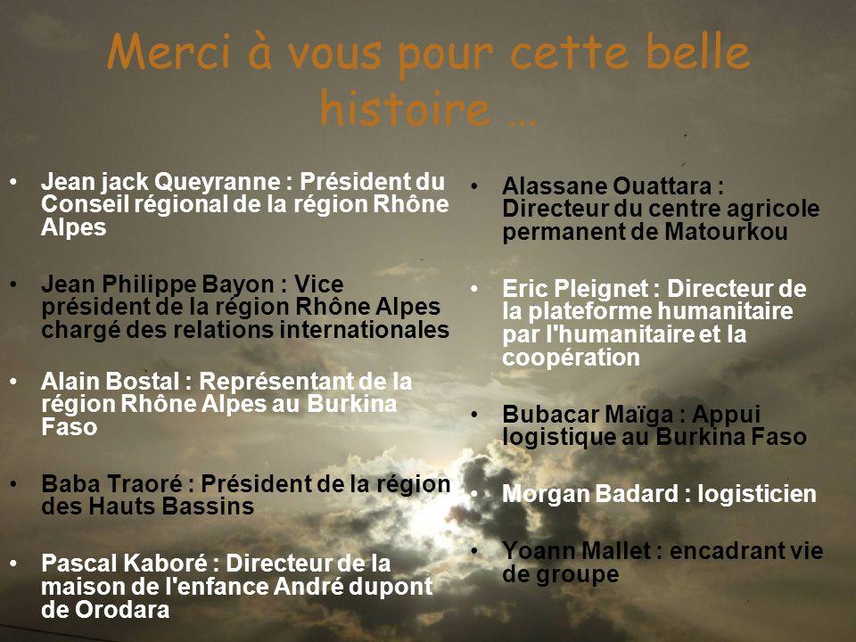 Merci à vous pour cette belle histoire … Jean jack Queyranne : Président du Conseil régional de la région Rhône Alpes Jean Philippe Bayon : Vice prési