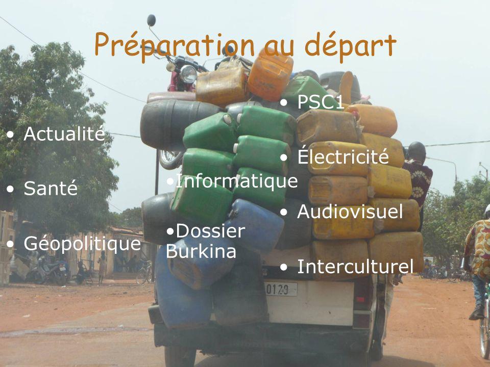 Préparation au départ Actualité Santé Géopolitique PSC1 Électricité Audiovisuel Interculturel Informatique Dossier Burkina