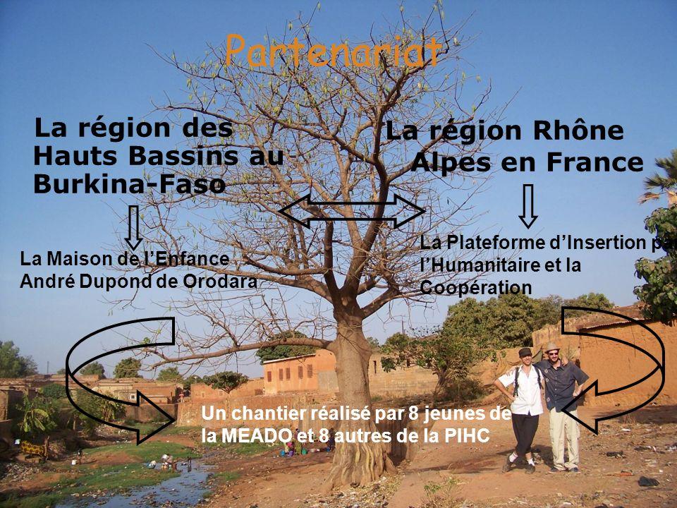 Partenariat La région des Hauts Bassins au Burkina-Faso La région Rhône Alpes en France La Maison de lEnfance André Dupond de Orodara La Plateforme dI