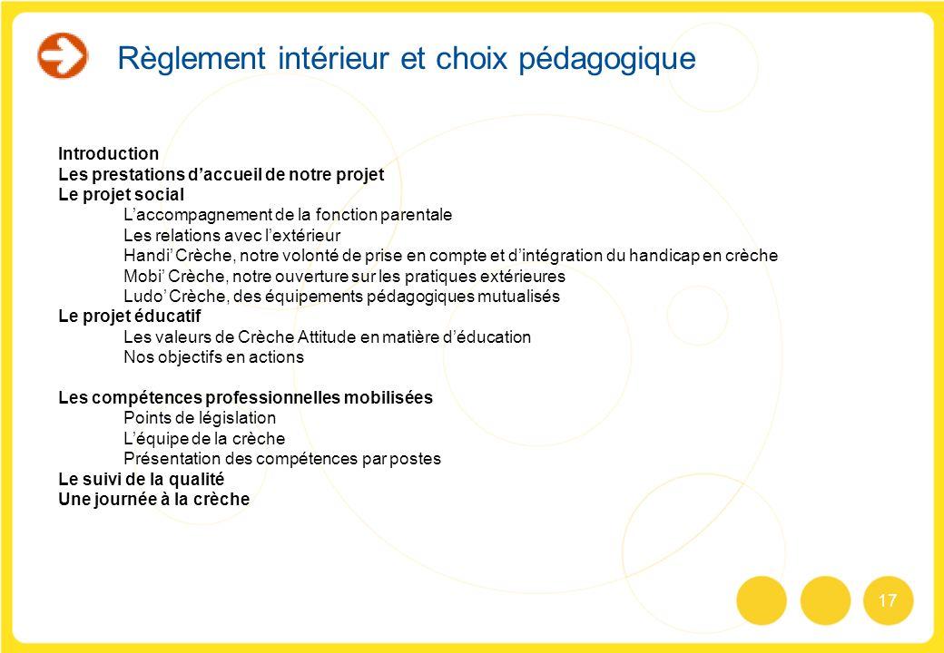 17 Règlement intérieur et choix pédagogique Introduction Les prestations daccueil de notre projet Le projet social Laccompagnement de la fonction pare