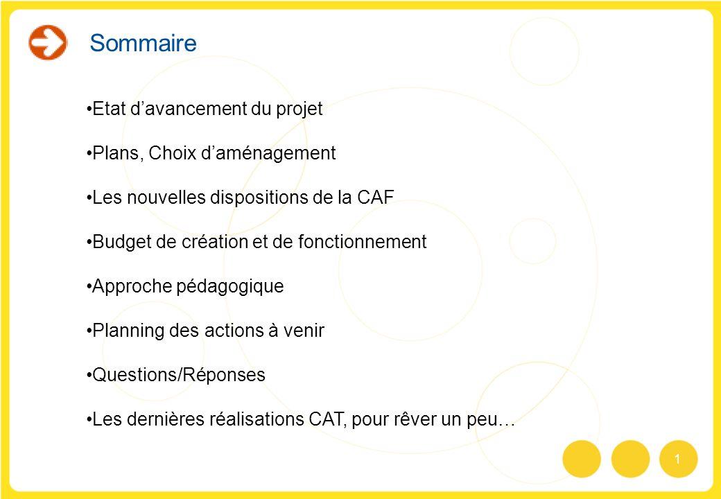 1 Sommaire Etat davancement du projet Plans, Choix daménagement Les nouvelles dispositions de la CAF Budget de création et de fonctionnement Approche