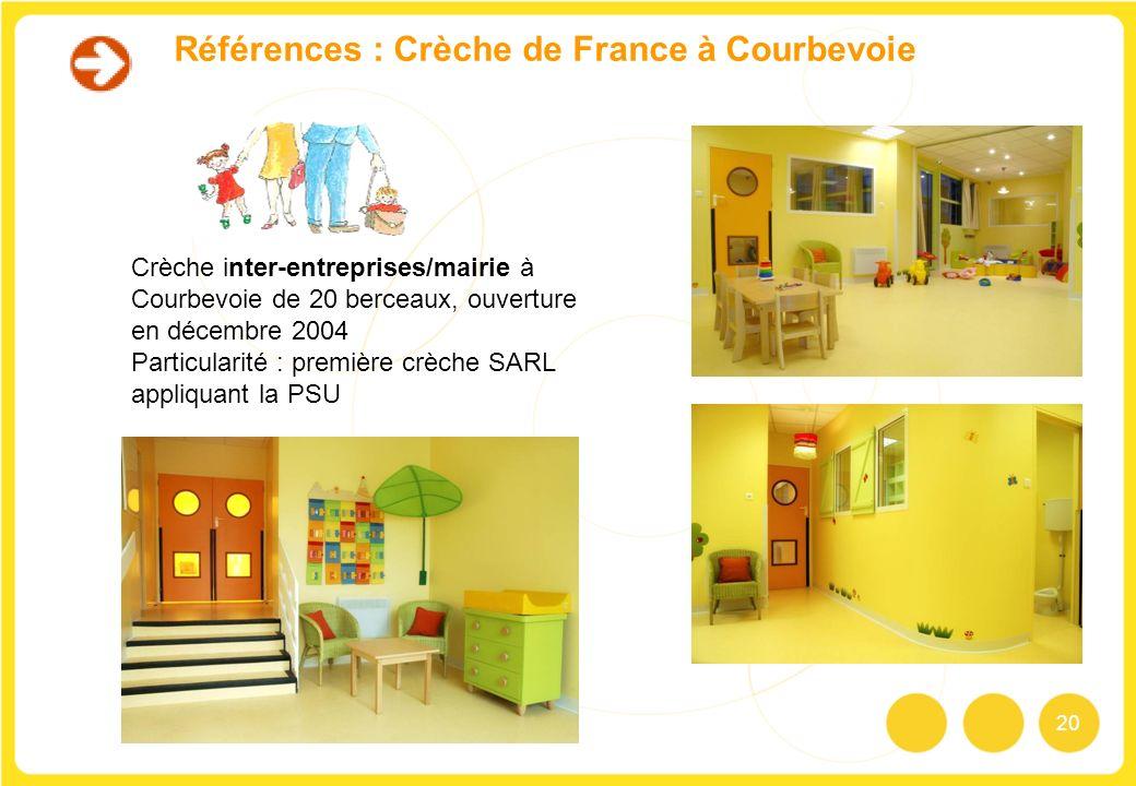 20 Références : Crèche de France à Courbevoie Crèche inter-entreprises/mairie à Courbevoie de 20 berceaux, ouverture en décembre 2004 Particularité :