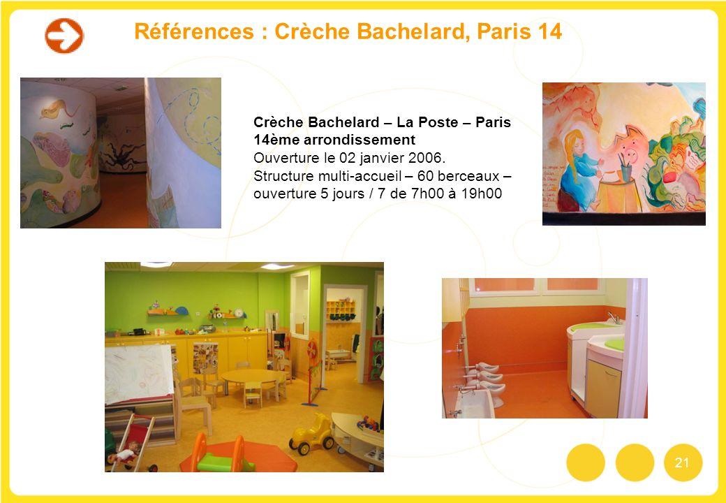21 Références : Crèche Bachelard, Paris 14 Crèche Bachelard – La Poste – Paris 14ème arrondissement Ouverture le 02 janvier 2006. Structure multi-accu