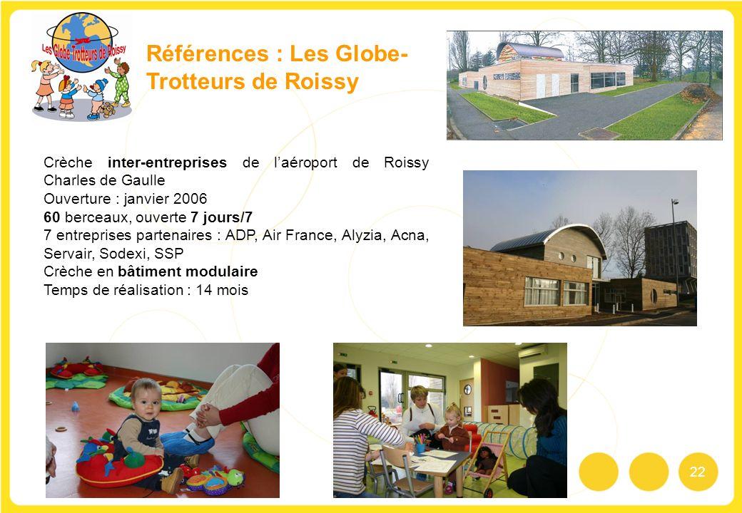 22 Références : Les Globe- Trotteurs de Roissy Crèche inter-entreprises de laéroport de Roissy Charles de Gaulle Ouverture : janvier 2006 60 berceaux,