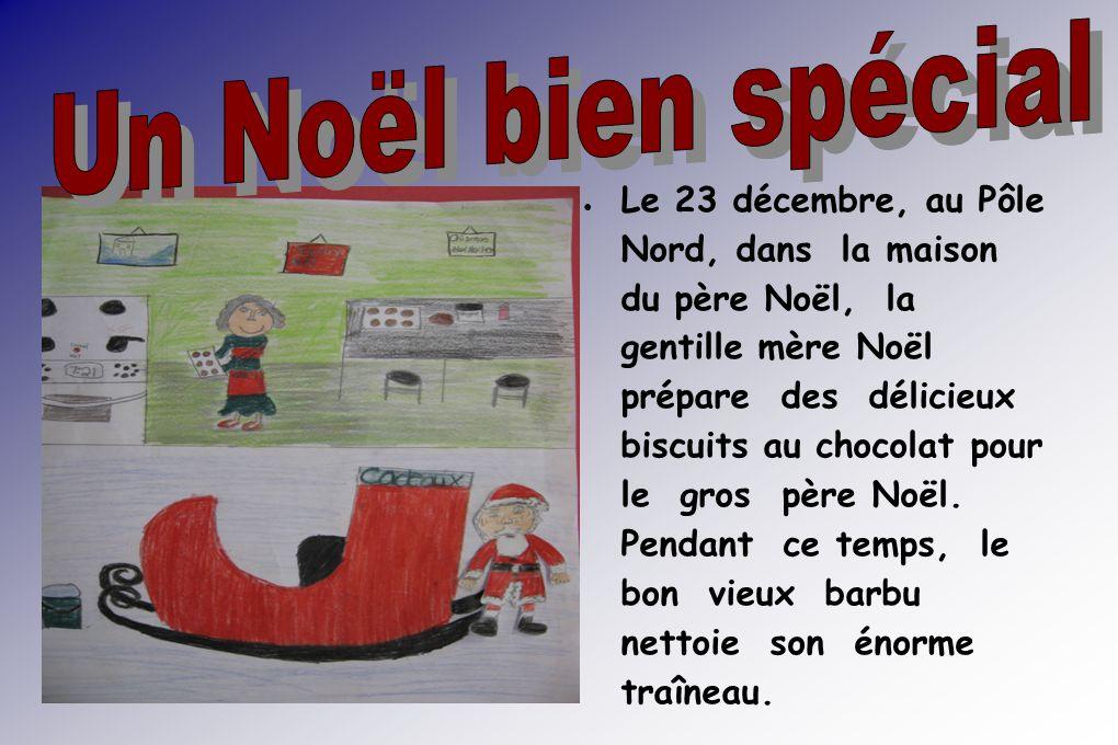 Tout à coup, Goolo, un des rennes du Père Noël, voit la mère Noël sapprocher avec les biscuits dun peu trop près ce qui lexcite.