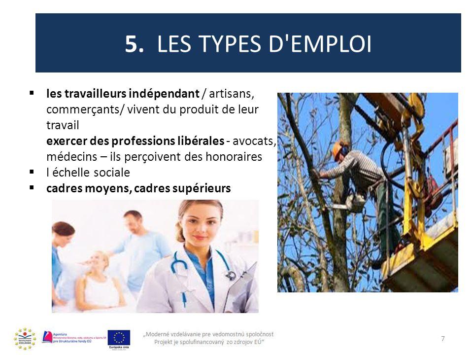 5. LES TYPES D'EMPLOI les travailleurs indépendant / artisans, commerçants/ vivent du produit de leur travail exercer des professions libérales - avoc