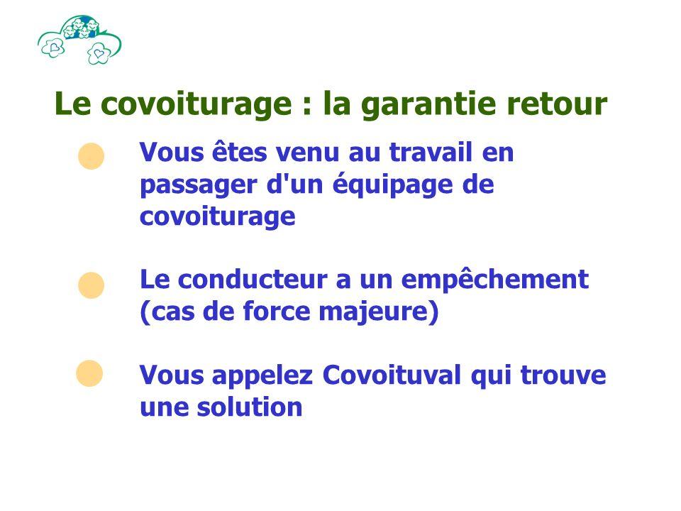 Le covoiturage : la garantie retour Vous êtes venu au travail en passager d un équipage de covoiturage Le conducteur a un empêchement (cas de force majeure) Vous appelez Covoituval qui trouve une solution