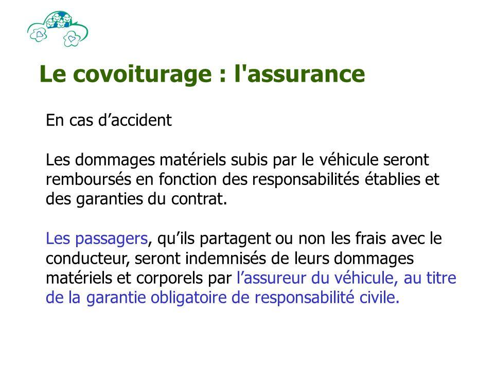 Le covoiturage : l assurance En cas daccident Les dommages matériels subis par le véhicule seront remboursés en fonction des responsabilités établies et des garanties du contrat.