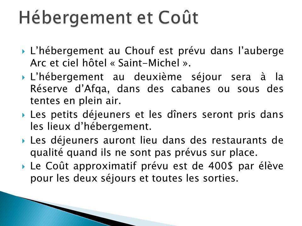 Lhébergement au Chouf est prévu dans lauberge Arc et ciel hôtel « Saint-Michel ».
