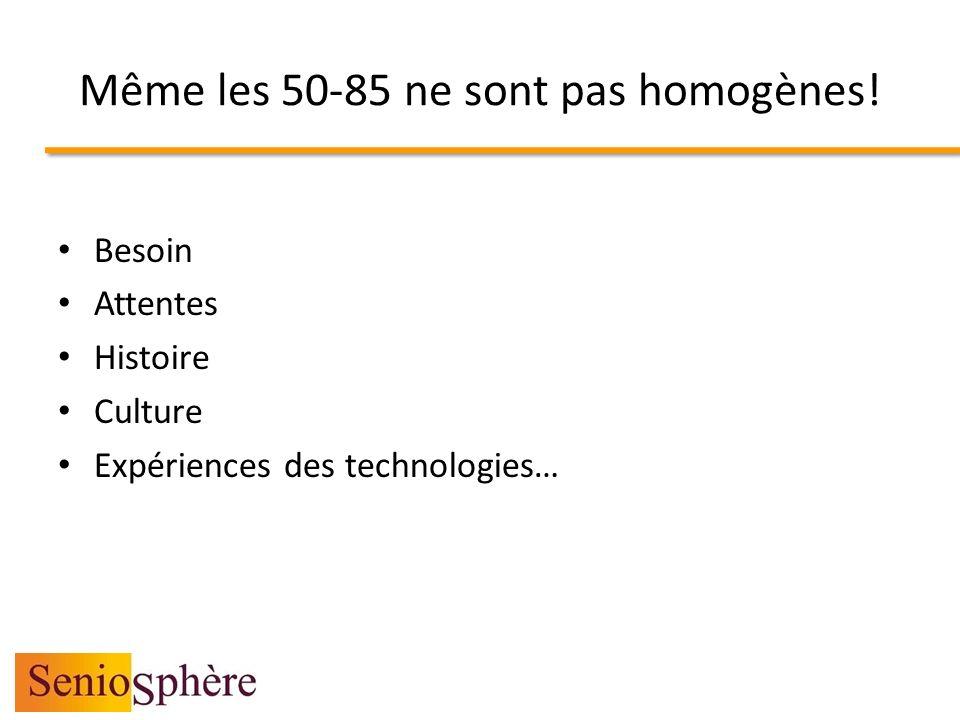 Même les 50-85 ne sont pas homogènes! Besoin Attentes Histoire Culture Expériences des technologies…
