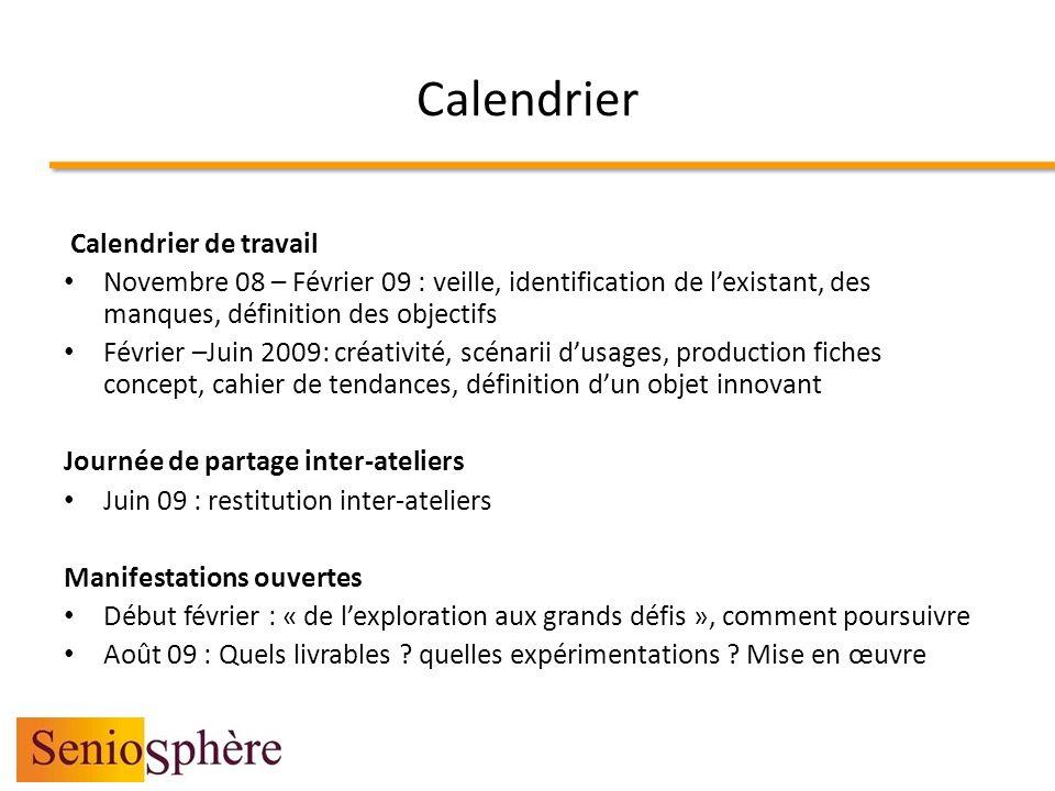 Calendrier Calendrier de travail Novembre 08 – Février 09 : veille, identification de lexistant, des manques, définition des objectifs Février –Juin 2