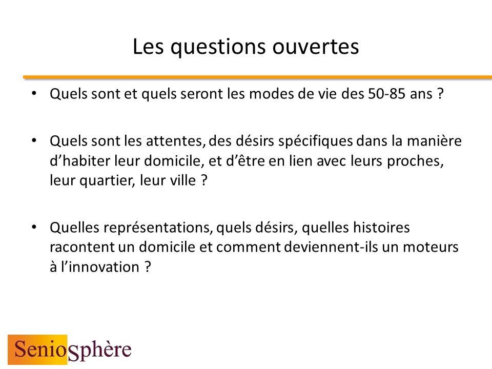 Les questions ouvertes Quels sont et quels seront les modes de vie des 50-85 ans ? Quels sont les attentes, des désirs spécifiques dans la manière dha