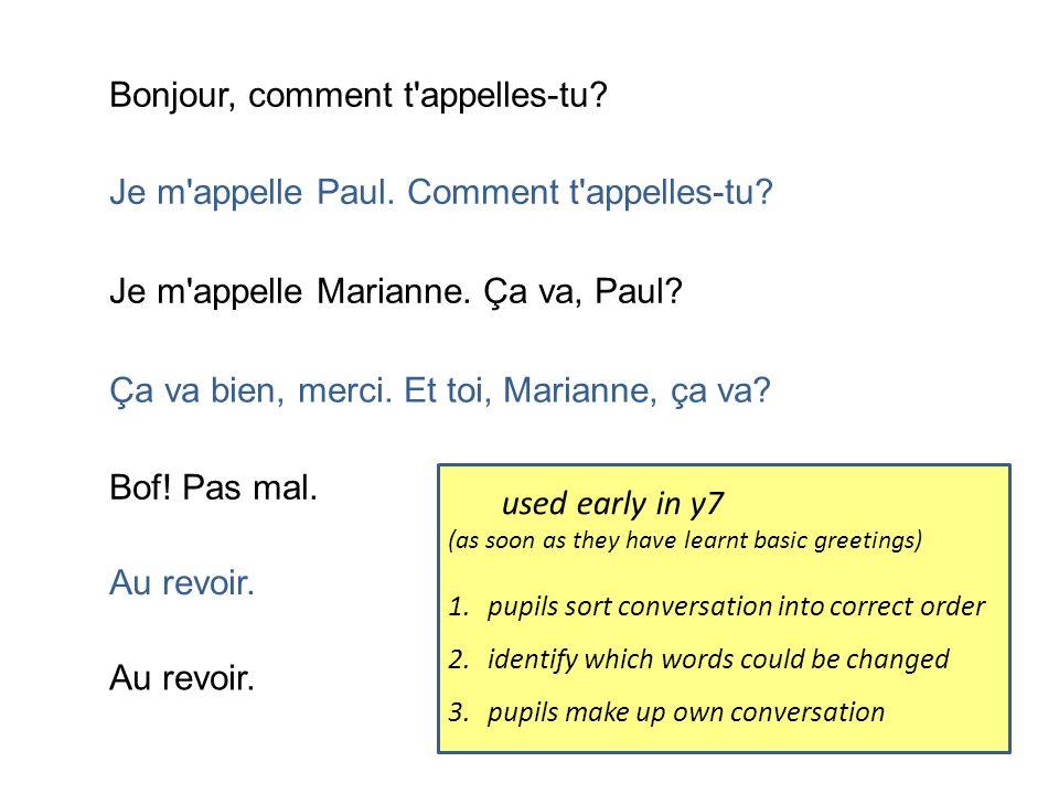 Bonjour, comment t'appelles-tu? Je m'appelle Paul. Comment t'appelles-tu? Je m'appelle Marianne. Ça va, Paul? Ça va bien, merci. Et toi, Marianne, ça