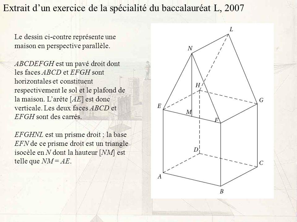 Le dessin ci-contre représente une maison en perspective parallèle. ABCDEFGH est un pavé droit dont les faces ABCD et EFGH sont horizontales et consti